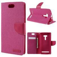 Canvas PU kožené/textilní pouzdro na Asus Zenfone Selfie ZD551KL - rose