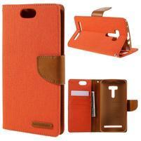 Canvas PU kožené/textilní pouzdro na Asus Zenfone Selfie ZD551KL - oranžové