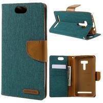 Canvas PU kožené/textilní pouzdro na Asus Zenfone Selfie ZD551KL - zelenomodré