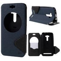 Peněženkové pouzdro s okýnkem na Asus Zenfone Selfie ZD551KL - tmavěmodré
