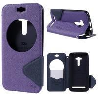 Peněženkové pouzdro s okýnkem na Asus Zenfone Selfie ZD551KL - fialové
