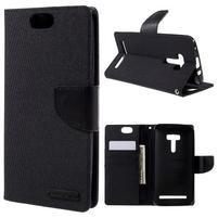 Canvas PU kožené/textilní pouzdro na Asus Zenfone Selfie ZD551KL - černé