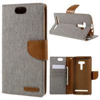 Canvas PU kožené/textilní pouzdro na Asus Zenfone Selfie ZD551KL - šedé