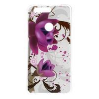 Emotive gelový obal na mobil Honor 8 - fialový květ