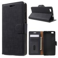 Clothy PU kožené pouzdro na mobil Huawei P8 Lite - černé