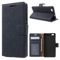 Clothy PU kožené pouzdro na mobil Huawei P8 Lite - tmavěmodré