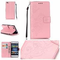 Magicfly PU kožené pouzdro na Huawei P8 Lite - růžové