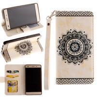 Mandala PU kožené pouzdro na mobil Huawei P8 Lite - béžové