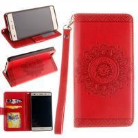 Mandala PU kožené pouzdro na mobil Huawei P8 Lite - červené