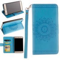 Mandala PU kožené pouzdro na mobil Huawei P8 Lite - modré