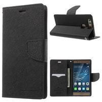 Diary PU kožené pouzdro na mobil Huawei P9 - černé