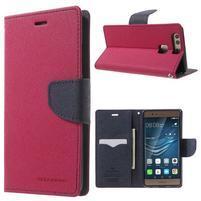 Diary PU kožené pouzdro na mobil Huawei P9 - rose
