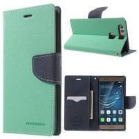 Diary PU kožené pouzdro na mobil Huawei P9 - azurové