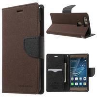 Diary PU kožené pouzdro na mobil Huawei P9 - hnědé