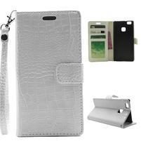 Croco peněženkové pouzdro na mobil Huawei P9 Lite - bílé