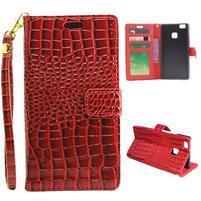Croco peněženkové pouzdro na mobil Huawei P9 Lite - červené