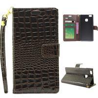 Croco peněženkové pouzdro na mobil Huawei P9 Lite - hnědé