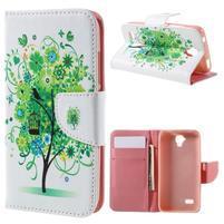 Emotive PU kožené pouzdro na Huawei Y5 - zelený strom
