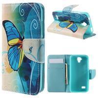 Emotive PU kožené pouzdro na Huawei Y5 - modrý motýl