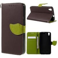 Leaf PU kožené pouzdro na mobil Huawei Y6 - hnědé