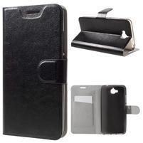 Horse PU kožené peněžekové pouzdro na Huawei Y6 Pro - černé