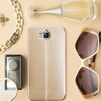 Vintage PU kožené pouzdro na mobil Huawei Y6 Pro - zlaté