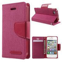 Canvas PU kožené/textilní pouzdro na iPhone 4 - rose