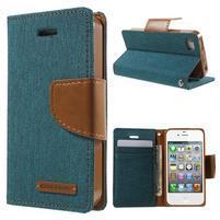 Canvas PU kožené/textilní pouzdro na iPhone 4 - zelenomodré