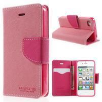 Fancys PU kožené pouzdro na iPhone 4 - růžové