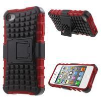Outdoor odolný obal na mobil iPhone 4 - červený