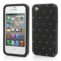 Diamonds silikonová obal na mobil iPhone 4 - černý