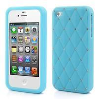 Diamonds silikonová obal na mobil iPhone 4 - světlemodrý
