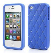 Diamonds silikonová obal na mobil iPhone 4 - modrý
