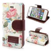 Elegantní PU kožené pouzdro na iPhone 4 - bílé pozadí