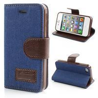 Jeans peněženkové pouzdro na iPhone 4 - modré