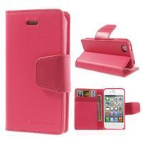 Diary PU kožené knížkové pouzdro na iPhone 4 - rose