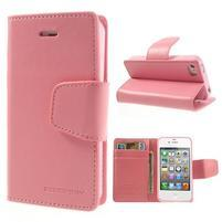Diary PU kožené knížkové pouzdro na iPhone 4 - růžové