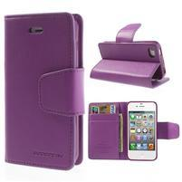 Diary PU kožené knížkové pouzdro na iPhone 4 - fialové