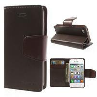 Diary PU kožené knížkové pouzdro na iPhone 4 - tmavěhnědé