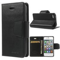 Diary PU kožené knížkové pouzdro na iPhone 4 - černé