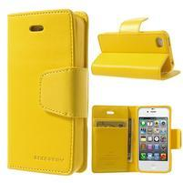 Diary PU kožené knížkové pouzdro na iPhone 4 - žluté