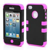 Extreme odolný kryt 3v1 na mobil iPhone 4 - fialovorůžový