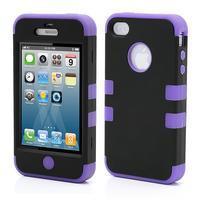 Extreme odolný kryt 3v1 na mobil iPhone 4 - fialový