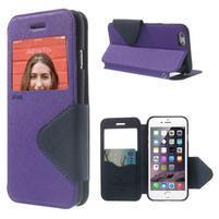 Peněženkové pouzdro s okýnkem na iPhone 6 a 6s - fialové