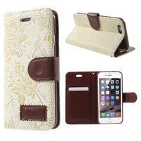 Elegantní květinové peněženkové pouzdro na iPhone 6 a 6s - bílé