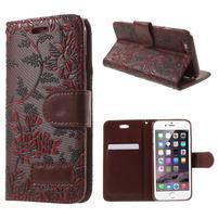 Elegantní květinové peněženkové pouzdro na iPhone 6 a 6s - červenohnědé