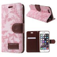 Elegantní květinové peněženkové pouzdro na iPhone 6 a 6s - růžové