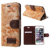 Elegantní květinové peněženkové pouzdro na iPhone 6 a 6s - oranžové