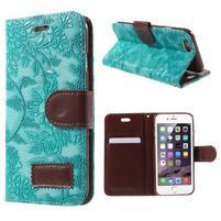 Elegantní květinové peněženkové  pouzdro na iPhone 6 a 6s - tyrkysové