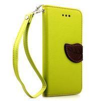 PU kožené peněženkové pouzdro pro iPhone 6s a 6 - zelené